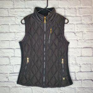 Calvin Klein womens puffer vest, black w/gold zip